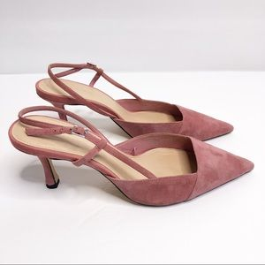Zara Woman Pink Suede Mini Heels Size 8
